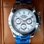 ROLEX-014-6 新款商務男士宇宙型迪通拿土閃亮銀鋼帶款腕錶