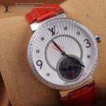LV-0025 新款潮流女士紅色銀圈陀飛輪藍寶石鏡面瑞士石英腕錶