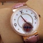 LV-0030 新款潮流女士粉色金圈陀飛輪藍寶石鏡面瑞士石英腕錶