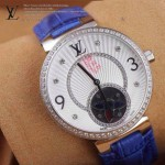 LV-0022 新款潮流女士藍色銀圈陀飛輪藍寶石鏡面瑞士石英腕錶