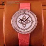 LV-008 新款潮流女士粉配白金圈Les Ardentes高級珠寶鑲鑽系列腕錶