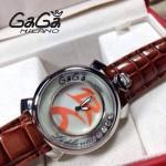 GAGA-63 專櫃新款時尚女士褐色配橙色銀圈活力走珠系列腕錶