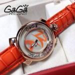 GAGA-59 專櫃新款時尚女士橙色金圈活力走珠系列腕錶