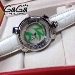 GAGA-55 專櫃新款時尚女士白色配綠色銀圈活力走珠系列腕錶