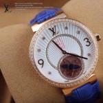 LV-0018 新款潮流女士藍色金圈陀飛輪藍寶石鏡面瑞士石英腕錶