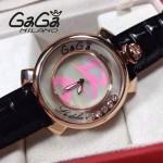 GAGA-56 專櫃新款時尚女士黑色配粉色金圈活力走珠系列腕錶