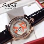 GAGA-60 專櫃新款時尚女士黑色配橙色金圈活力走珠系列腕錶