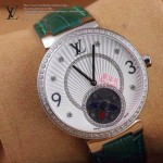 LV-0027 新款潮流女士綠色銀圈陀飛輪藍寶石鏡面瑞士石英腕錶