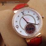 LV-0017 新款潮流女士紅配白金圈陀飛輪藍寶石鏡面瑞士石英腕錶
