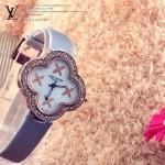 LV-003 新款女士白色四葉系列范冰冰同款限量版鑲鑽腕錶