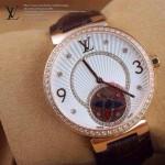 LV-0031 新款潮流女士褐色金圈陀飛輪藍寶石鏡面瑞士石英腕錶