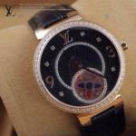 LV-0028 新款潮流女士全黑色金圈陀飛輪藍寶石鏡面瑞士石英腕錶