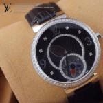 LV-0020 新款潮流女士全黑色銀圈陀飛輪藍寶石鏡面瑞士石英腕錶