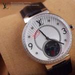 LV-0026 新款潮流女士黑色銀圈陀飛輪藍寶石鏡面瑞士石英腕錶