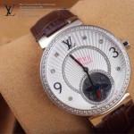 LV-0021 新款潮流女士褐色銀圈陀飛輪藍寶石鏡面瑞士石英腕錶
