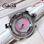 GAGA-62 專櫃新款時尚女士白色配粉色銀圈活力走珠系列腕錶