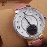 LV-0024 新款潮流女士粉色銀圈陀飛輪藍寶石鏡面瑞士石英腕錶
