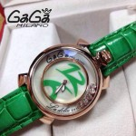 GAGA-58 專櫃新款時尚女士綠色金圈活力走珠系列腕錶