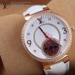 LV-0016 新款潮流女士全白色金圈陀飛輪藍寶石鏡面瑞士石英腕錶