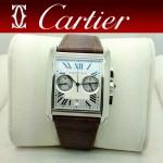 CARTIER-180 人氣男士閃亮銀休閒劉德華同款TANK MC系列石英腕錶