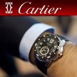 CARTIER-166 新款男士卡利博潛水系列膠帶款進口機械腕錶