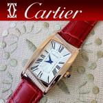 CARTIER-194 時尚潮流女士土豪金紅色長方形鑲鑽款皮帶腕錶