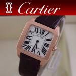 CARTIER-142 時尚新款男女款棕色杜蒙系列兩針設計藍寶石款腕錶
