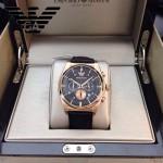 ARMANI-182 時尚潮流新款土豪金黑面男士六針設計原單皮帶款石英腕錶