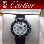 CARTIER-167 新款男士閃亮銀卡利博潛水系列膠帶款進口機械腕錶