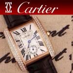 CARTIER-214 時尚人氣女士黑色土豪金邊框鑲鑽彩色皮帶款瑞士石英腕錶
