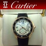 CARTIER-168 新款男士卡利博潛水系列膠帶款進口機械腕錶
