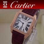CARTIER-141 時尚新款男女款紫色杜蒙系列兩針設計藍寶石款腕錶
