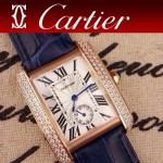 CARTIER-215 時尚人氣女士藍色土豪金邊框鑲鑽彩色皮帶款瑞士石英腕錶