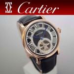 CARTIER-201 新款男士商務土豪金藍氣球陀飛輪皮帶款自動機械腕錶