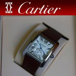CARTIER-174 新款褐色閃亮銀劉德華代言同款男士商務機械腕錶