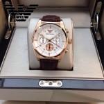 ARMANI-184 時尚潮流新款土豪金白面男士六針設計原單皮帶款石英腕錶