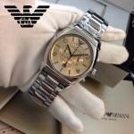 ARMANI-179 潮流新款男士六針設計原單鋼帶石英腕錶
