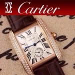 CARTIER-217 時尚人氣女士褐色土豪金邊框鑲鑽彩色皮帶款瑞士石英腕錶