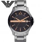 ARMANI-188 潮流雅痞時尚風格銀灰色玫瑰金指針腕錶