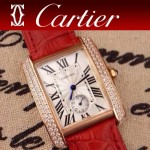 CARTIER-218 時尚人氣女士紅色土豪金邊框鑲鑽彩色皮帶款瑞士石英腕錶