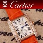 CARTIER-216 時尚人氣女士橙色土豪金邊框鑲鑽彩色皮帶款瑞士石英腕錶