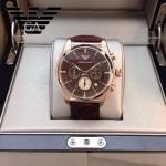 ARMANI-183 時尚潮流新款土豪金紅面男士六針設計原單皮帶款石英腕錶