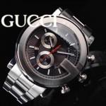 GUCCI-040 原裝頂級新款男士黑色格狀飾紋表面藍寶石鏡面瑞士石英腕錶