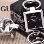 GUCCI-057 時尚新款女士316L精鋼礦物質閃亮銀黑底高硬度玻璃手鏈款進口石英腕錶