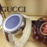 GUCCI-046 潮流炫酷商務男士閃亮銀白色皮帶款進口鋼化藍光玻璃電子手錶