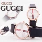GUCCI-038 人氣熱銷單品情侶款大中小號玫瑰金白底皮帶款進口石英腕錶