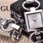 GUCCI-058 時尚新款女士316L精鋼礦物質閃亮銀白底高硬度玻璃手鏈款進口石英腕錶