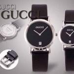 GUCCI-032 人氣熱銷單品情侶款大中小號閃亮銀黑底皮帶款進口石英腕錶