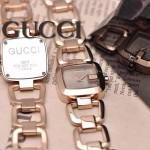 GUCCI-051 時尚新款女士316L精鋼礦物質土豪金銀底高硬度玻璃鏈條款進口石英腕錶