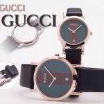 GUCCI-039 人氣熱銷單品情侶款大中小號玫瑰金經典織帶皮帶款進口石英腕錶